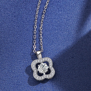 Image 1 - Fashion Flower Crystal Silver Pendant Necklaces for Women 925 Silver Chain Wedding Jewelry Lover Gift