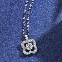 Flor de cristal de moda colgante de plata collares para mujeres 925 Cadena de plata joyería de regalo de boda amante