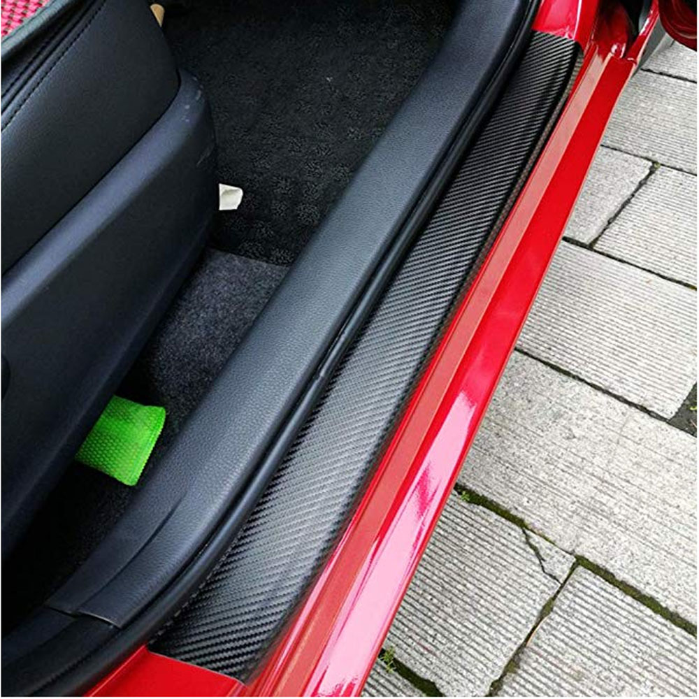 4Pcs Car Door Sill Protector Door Sill Scuff Plate Carbon Fiber Stickers Cover Door Anti Scratch For Cars SUV Truck Pickup