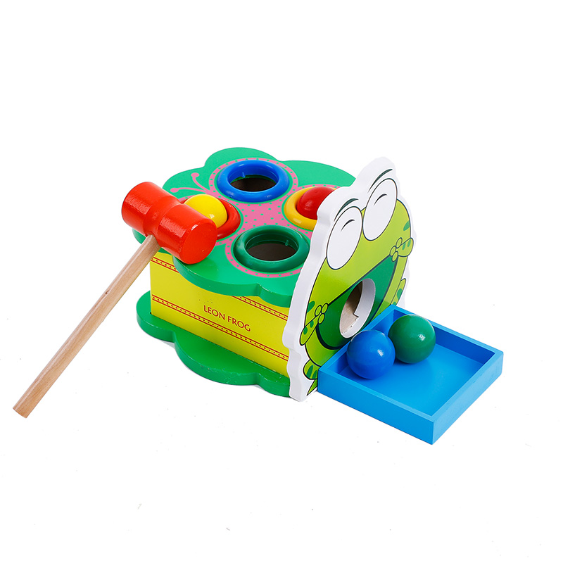 Cheap Price Green Leon Frog Wooden Percussion Table Toys Hammer Beating Childrens Toys Early Educational Drum Table Gift For Kid Limpid In Sight Toys & Hobbies