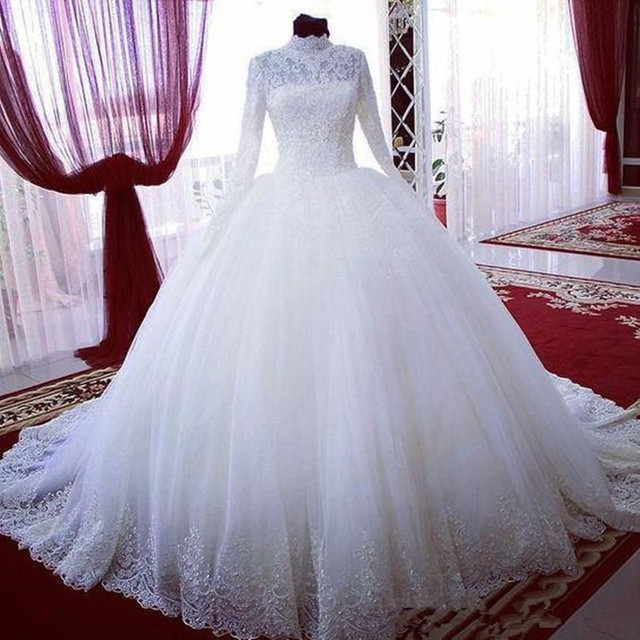 High Neck Modern Style Ball Gown Lace Muslim Wedding Dress Long Sleeve Princess Custom Made Bridal