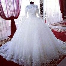 High Neck Modern Style Ball Gown Lace Muslim Wedding Dress Long Sleeve Princess Custom Made Bridal Vestido Applique White Ivory