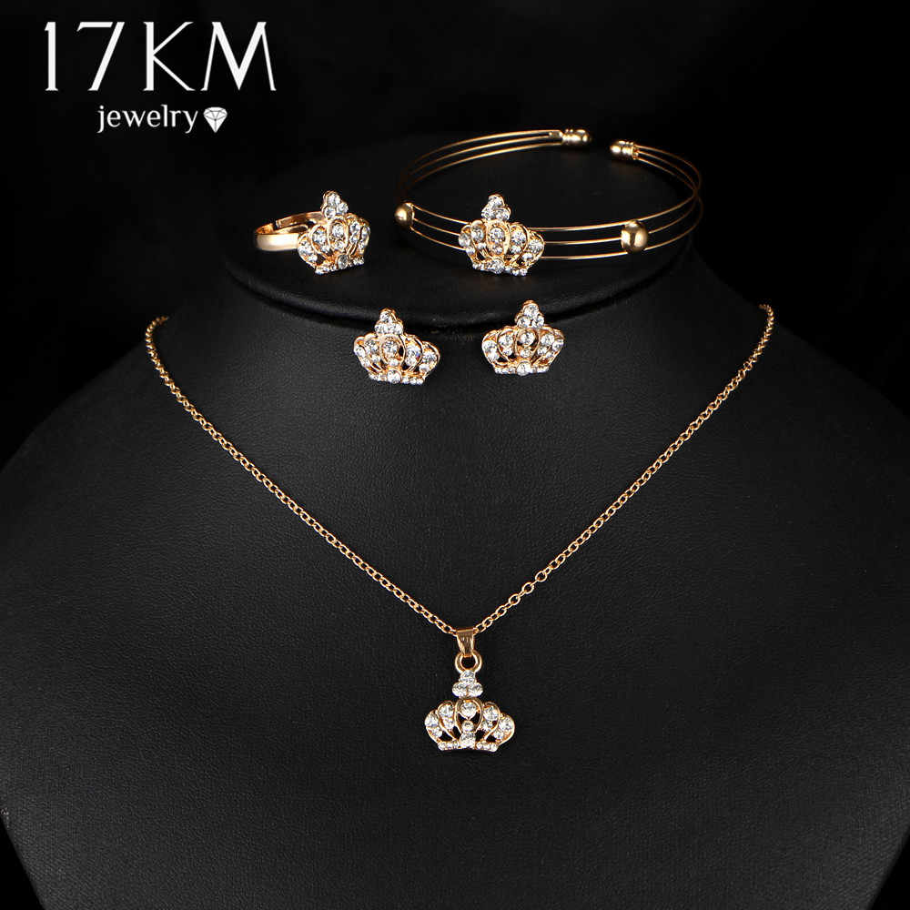 17KM Gold Color Crown Bridal Jewelry Set Hollow Flower Necklace/Earrings/Ring/Bracelet 2017 Indian Wedding Accessorie For Woman
