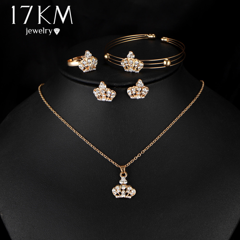 17KM Gold Color Crown Bridal Jewelry Set Hollow Flower Necklace/Earrings/<font><b>Ring</b></font>/<font><b>Bracelet</b></font> 2017 <font><b>Indian</b></font> Wedding Accessorie For Woman image