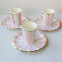 Bulk Price Metallic Foil Pink Striped Party Tableware Set Paper Plates Paper Cups for Girls\u0027 & Buy paper plate prices and get free shipping on AliExpress.com