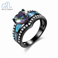 Mystic Rainbow Fire Opal Heart Women Ring Black Plated Blue Purple Stone Wedding Party Engagement Lady