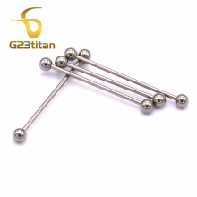 G23titan 14G G23 Titanium Vertical Industrial Piercing Silver Barbell Ear Piercing Jewelry SGS Certification