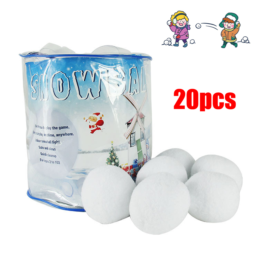 Indoor Snowball Fight Game Set - Includes (2) Inflatable Shields (10) Plush Snowballs And Mesh Carry BagWhite Indoor Winte