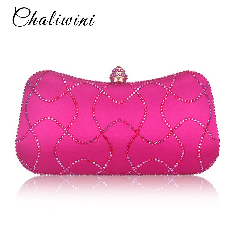 Women Clutches Pink Handbags Chain Wedding-Purse Evening-Bags Diamond Party Ladies