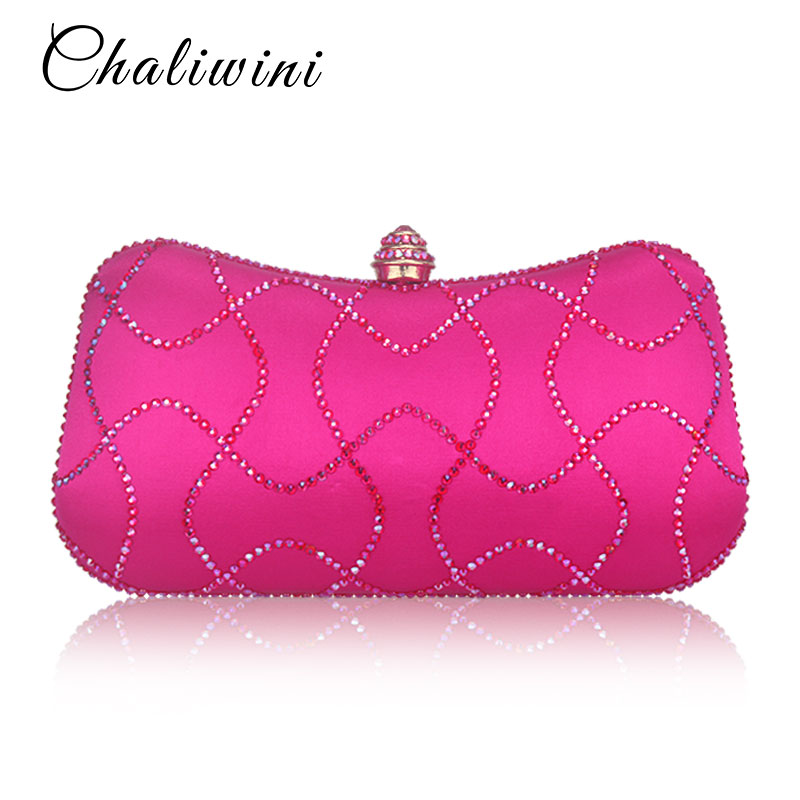 New Style Diamond Women Clutches Ladies Evening Bags Girl Party Wedding Purse Noble Royal Pink HandBags Clutch Bag With Chain