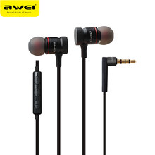 Awei ES-70TY In-Ear Earphone Metal Headphones With Mic Stereo Wired Headset Deep Bass Sound Fone De Ouvido Auriculares Audifonos(China)