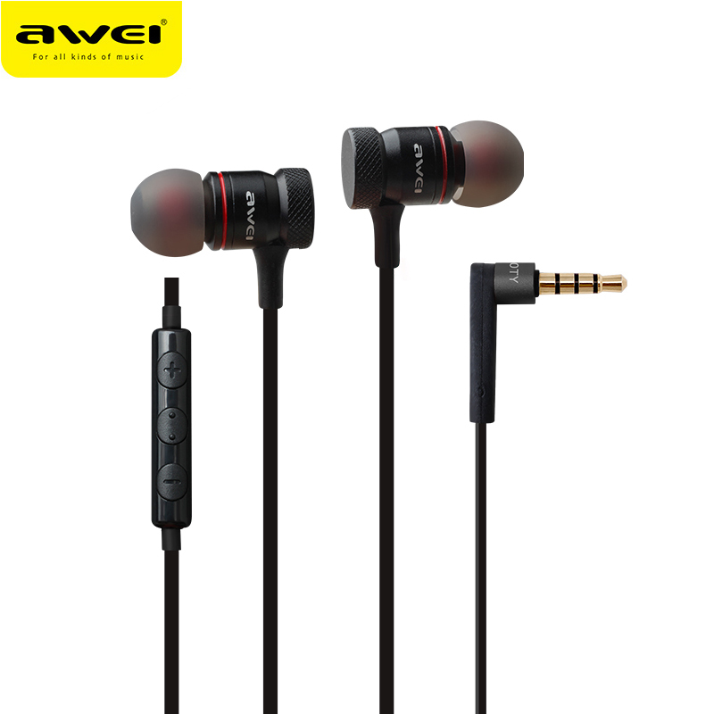 es70 - Awei ES-70TY In-Ear Earphone Metal Headphones With Mic Stereo Wired Headset Deep Bass Sound Fone De Ouvido Auriculares Audifonos