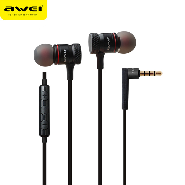 Awei ES-70TY In-Ear Earphone Metal Headphones With Mic Stereo Wired Headset Deep Bass Sound Fone De Ouvido Auriculares Audifonos
