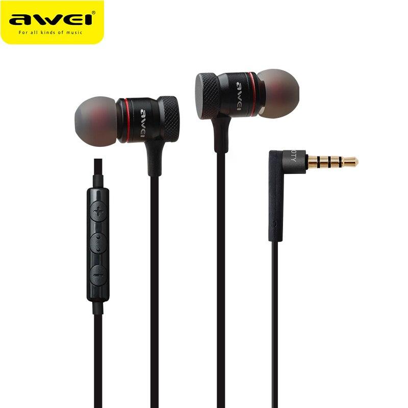 Awei ES-70TY fone de ouvido de metal fones de ouvido com microfone estéreo com fio fone de ouvido som graves profundos fone de ouvido fone de ouvido