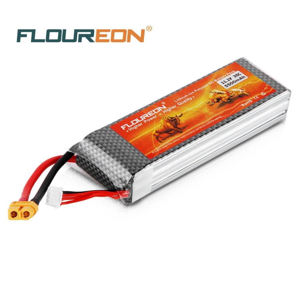 Prix pour FLOUREON 11.1 V 5500 mAh 3 S 35C Lipo RC Batterie XT60 Plug Rechargeable Lipo Batterie pour RC Hélicoptère RC avion RC Passe-Temps