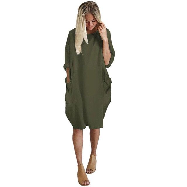 Outono vestidos Das Mulheres Bolso Vestido Solto Tripulação Pescoço Senhoras Casuais Longo Encabeça Vestido moda feminina grande vestido da menina