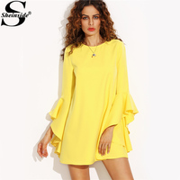 Sheinside Ruffle Sleeve Summer Dress Yellow Crew Neck 2017 Elegant Mini Shift Tunic Dress Women Back