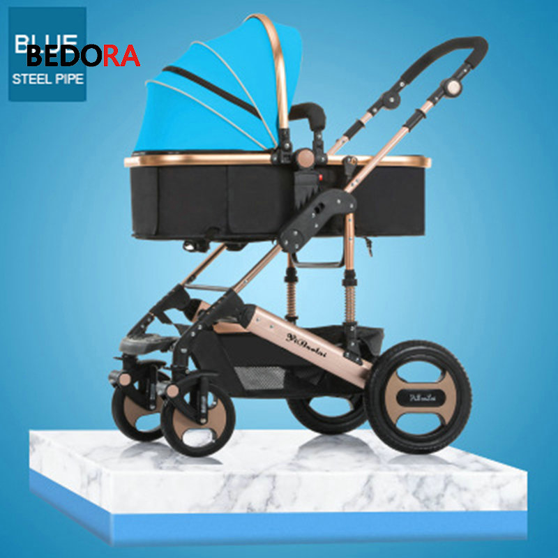 Bedora High landscape stroller lightweight foldable can sit and lie down two-way shock absorbers four wheeled stroller babythrone baby stroller portable folding stroller can sit and lie down widen and widen the four wheel shock absorbers