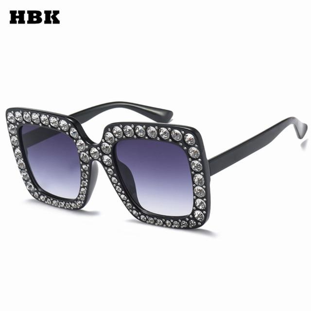19c4235265 HBK Sunglasses Women Oversized Square Crystal Brand Designer Shades Men  Luxury Mirror Retro Diamond Sun Glasses
