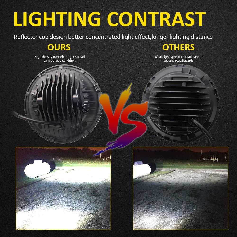 Светодиодный светильник CO, 7 дюймов, 180 Вт, с углом поворота глаза, DRL, 12 В, 24 В, Hi/Lo, для Jeep Wrangler, Lada, Niva, 4x4, внедорожный светильник s