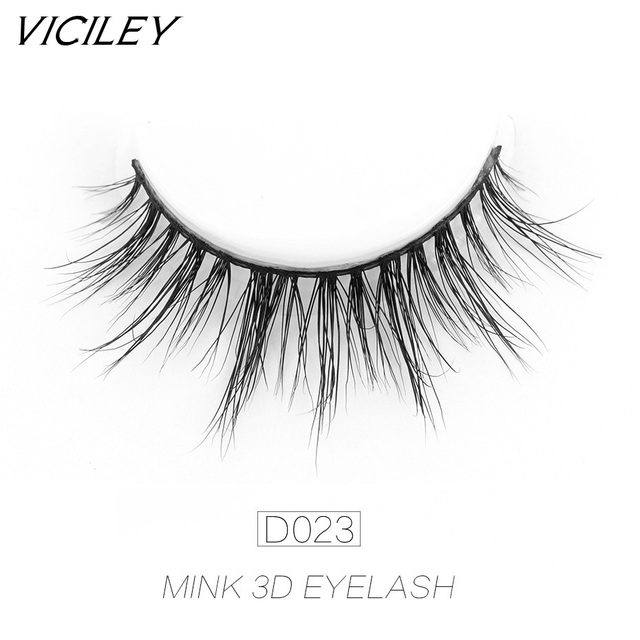 285aa880037 VICILEY real Mink lashes 3D false eyelashes handmade cilios Natural Curly  eyelashes comfortable for makeup-D023