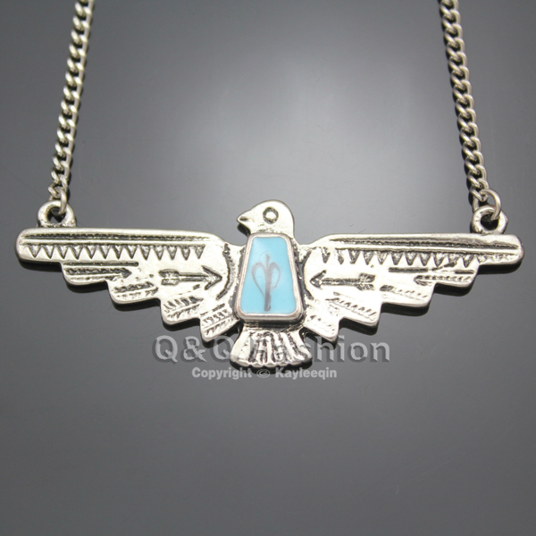 Vintage Silver Plated Eagle Turkey Blue Stone  Style Statement Chain Pendant Necklace Tribal Jewelry  New