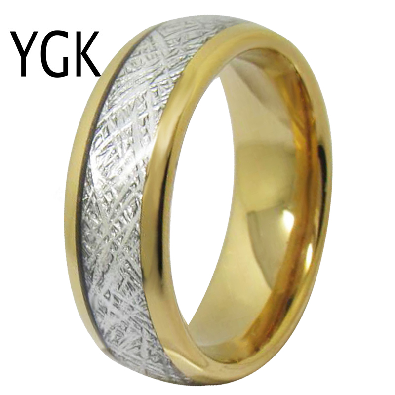 YGK Wedding Jewelry Golden Dome With Meteorite Inlay New Tungsten Rings for Men's Bridegroom Wedding Engagement Anniversary Ring one set stylish rhinestone inlay embellished golden rings
