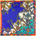 "New Women Scarf Rayon 35"" 90cm Hijab Bohemia Cashew Flowers Printing Pattern Satin Ribbon Bandana for Female SP167141"