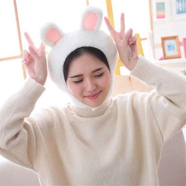 Плюшевая шапка розовый кролик
