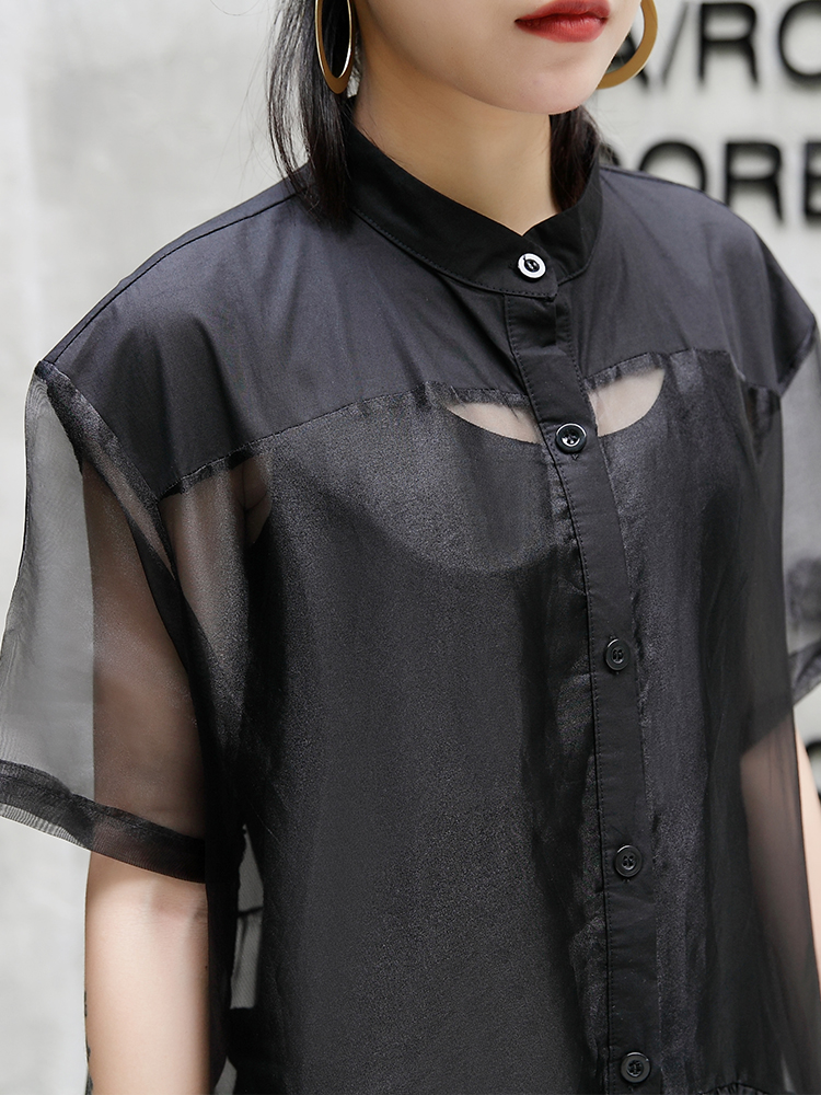 Mode Manches Montant Bouton Robe Patchwork À Courtes Lâche 2018 Robes Col Realshe D'été Femmes Ruches Élégant 08wOkPn