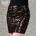 Impresión atractiva del leopardo del cuero genuino faldas mujeres mini pencil skirt faldas jupe saia et7208 piel de cerdo falda más el tamaño LT239