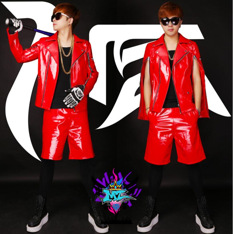 S 5XL ! 2016 Men Bigbang Singers GD Zipper Long Sleeve Red Motorcycle Leather Jacket Sets Stage Show Costumes ! free shipping