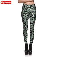 Hipsterme Jeggings Fitness Zombies Skull3D Printed Workout Leggings Fashion Slimmin Pants For Women