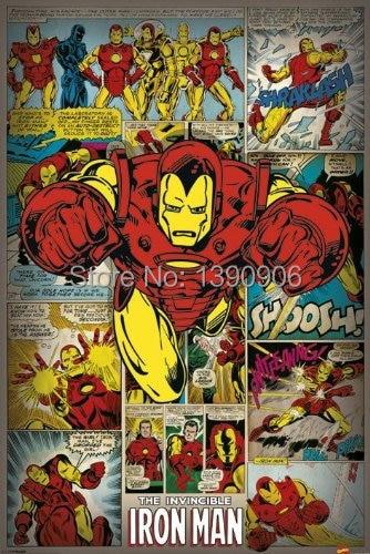 Marvel Comics Iron Man Retro Decor Stylish Wallpaper Print