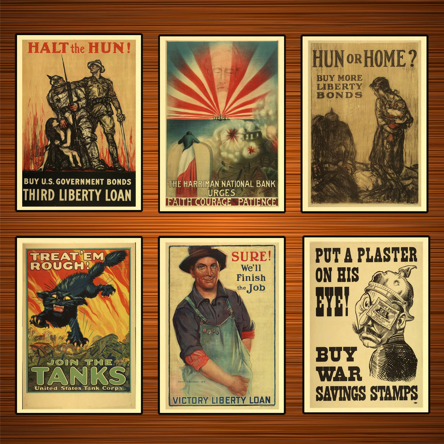Vintage 1910s USA WW1 Propaganda Poster Halt the Hun Classic Canvas Paintings Wall Stickers Home Decor Gift image