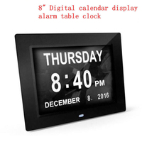 8 TFT screen LED Large Digital Wall Calendar Time Day Week Year 12 24 Hours Display Clock White/Black