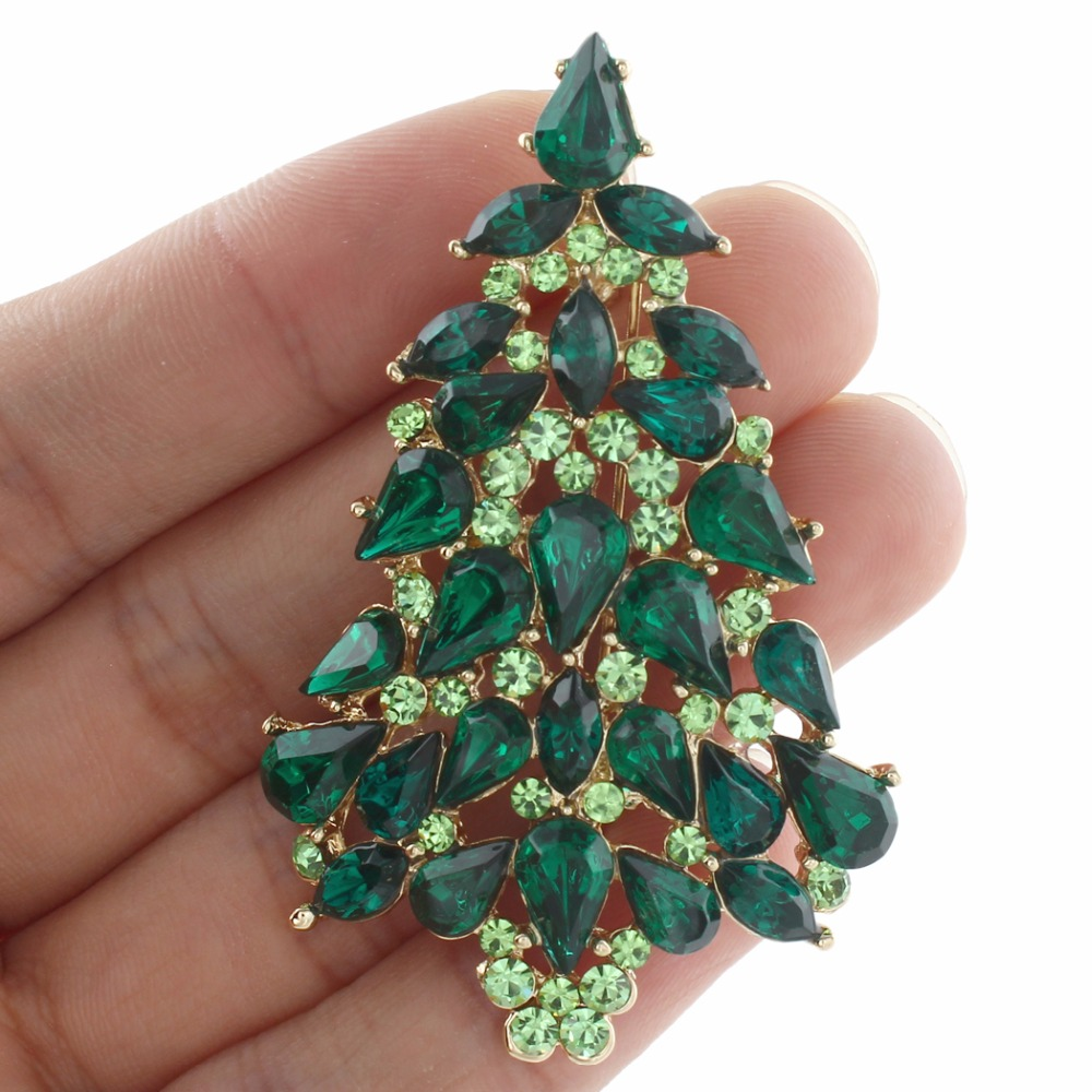 Bella Fashion Christmas Tree Droplet Brooch Pins Charm Green Austrian Crystal Rhinestone Brooches For Women Party Jewelry Gift цена 2017