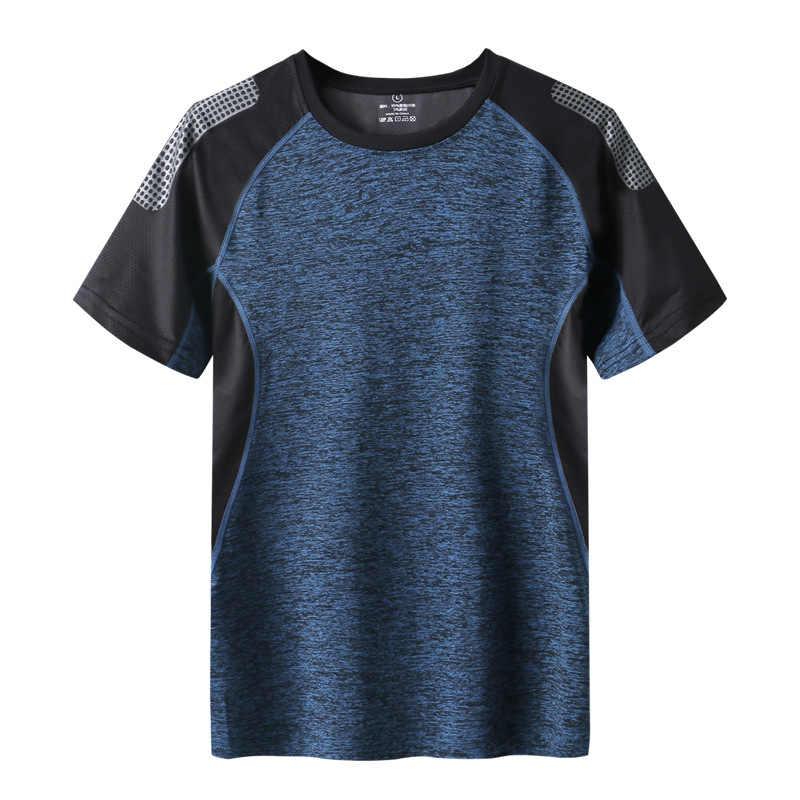 מהיר יבש ספורט T חולצה גברים 2019 קצר שרוולים הקיץ מזדמן כותנה בתוספת גודל אסיה M-5XL 6XL 7XL למעלה Tees כושר חולצת טי בגדים