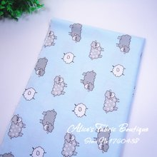 50cm*160cm half meter 100% Cotton Fabric light blue cartoon sheep for diy handmade Sewing crafts Tissue Tilda Doll Cloth