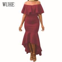 WUHE Sexy Off Shoulder Bodycon Ruffles Dress Summer Vestidos Women Celebrity Party Dresses Elegant Femme Strapless Slim