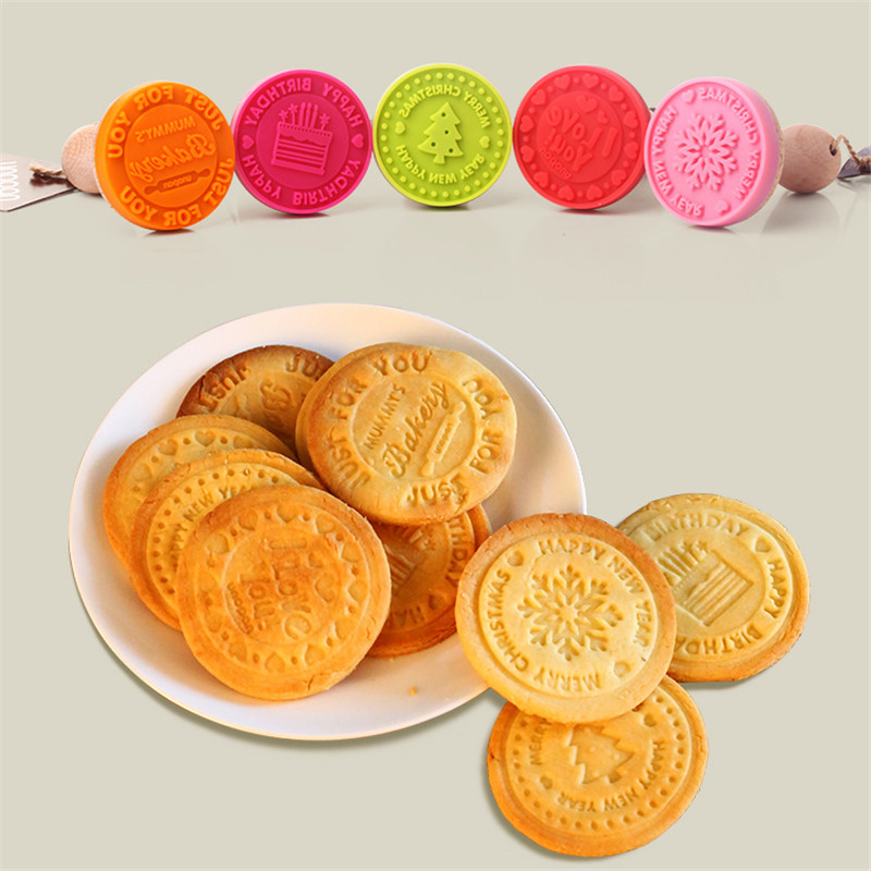1PC Silicone DIY Cookie Stamps Fondant Cake Mold Biscuit Embossing Tools Cutters Sugar craft tool Krismas Cake Decorating