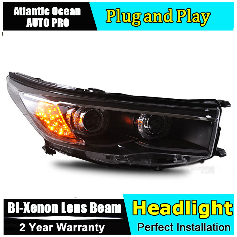 AUTO PRO car styling for Toyota Highlander Headlights 2015 New LED Turn Signal DRL HID KIT Bi-Xenon Lens Low Beam Head Lights Ca akd car styling for toyota highlander led headlights 2015 angel eye headlight drl bi xenon lens high low beam parking fog lamp
