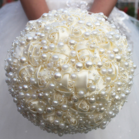 In Stock New Light Champagne 2019 Gorgeous Peals Chain Wedding Bouquet Rose Bridesmaid Flowers Artificial Pearl Bridal Bouquets