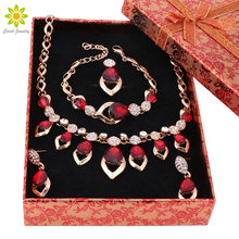 Jewelry Sets For Women Wedding Accessories Fine African Beads Party  Gold Color Crystal Necklace Earrings 8colors+Gift Boxes