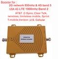 EUA 4G impulsionador para AT&T t-mobile Sprint Verizon banda 5 850 mhz CDMA repetidor & 4G repetidor de sinal de banda 2 1900 Mhz LTE FDD amplificador
