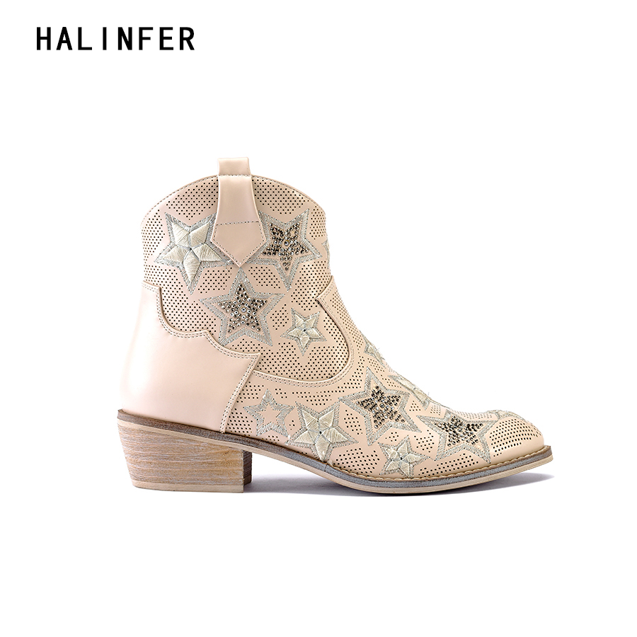 HALINFER western cowboy ankle boots for shoes women suede high heels pointed toe fashion ...