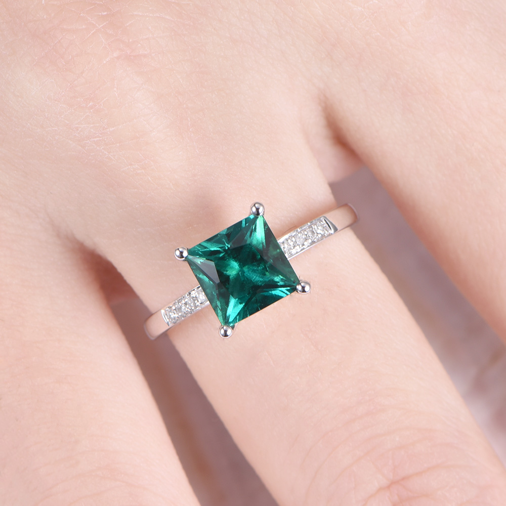 Lab Created Green Emerald Stone Engagement Ring 14k White Yellow ...