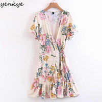 New Women Floral Printed Dress Lady Cross V Neck Tie Waist Wrap Dress European Style Short