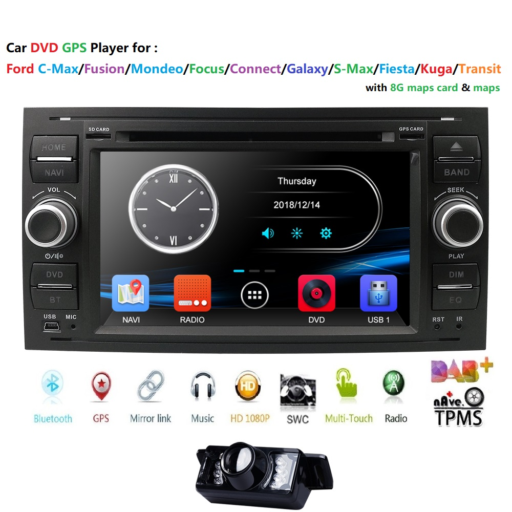 2din lecteur dvd De Voiture Multimédia Pour Ford Fiesta Ford Focus 2 Mondeo 4 C-Max S-Max Fusion connexion de transit autoRadio navigation gps