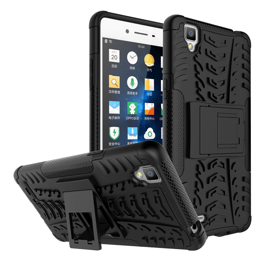 """Dual Layer Armor Case For OPPO F1 A35 5.0"""" Hard PC Silicone Shockproof Anti Slip Phone Cover With Kickstand For OPPO F1 A35 @"""